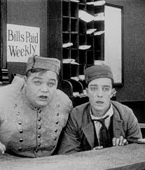 Roscoe Arbuckle and Buster Keaton on the set of The Bell Boy