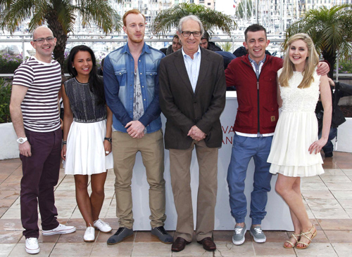 Loach and much of the principal cast at Cannes