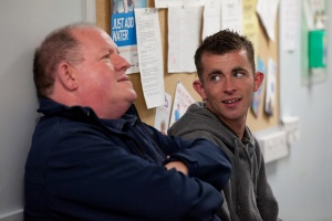 Robbie and his mentor Harry, who have a great relationship in the film.